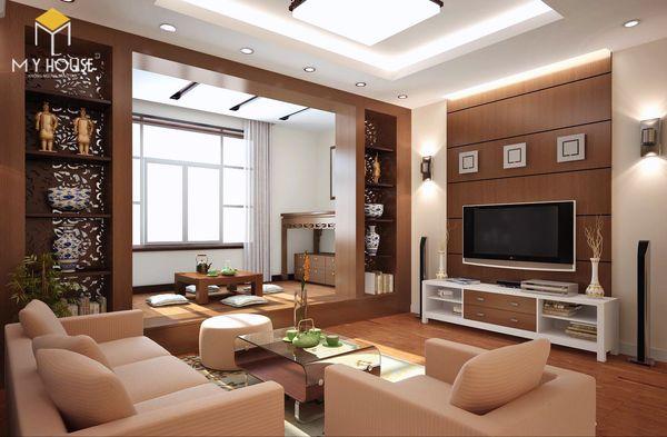 Tủ âm tường trang trí phòng khách tận dụng góc chết trong nội thất