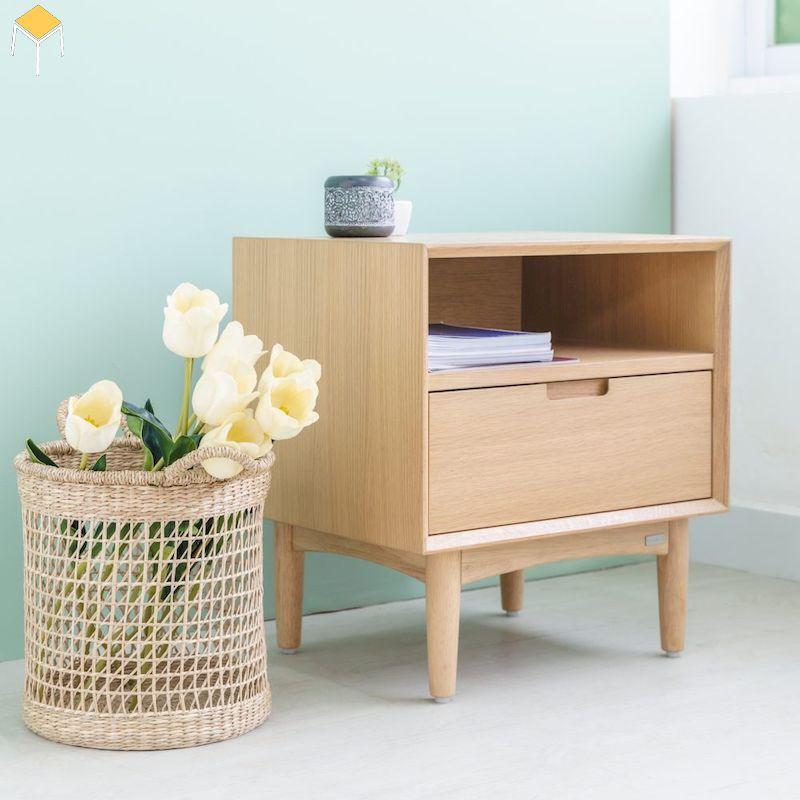 Trang trí nội thất với tủ đầu giường gỗ sồi