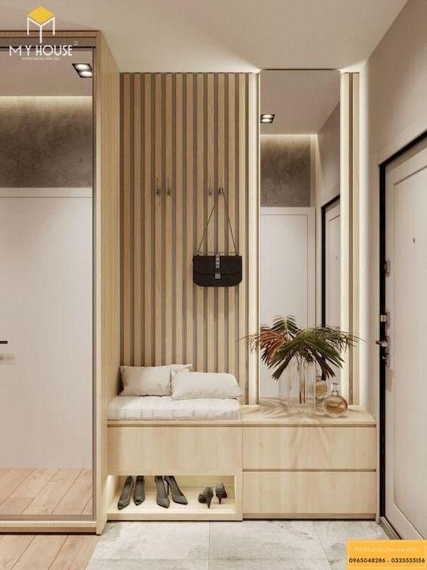Tủ giày âm tường gỗ tự nhiên