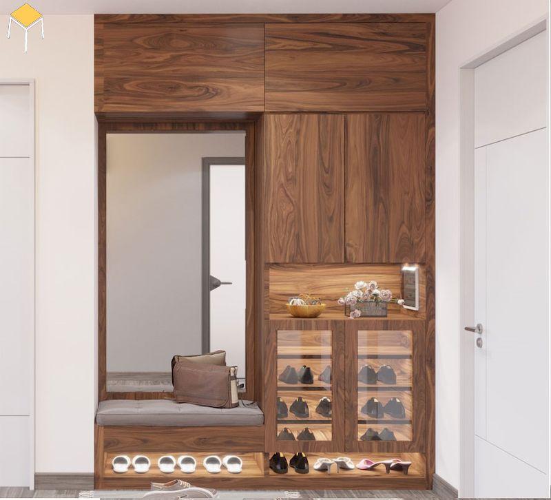Tủ giày cao kịch trần gỗ óc chó
