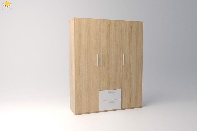 Tủ quần áo 3 cánh gỗ công nghiệp đẹp, hiện đại