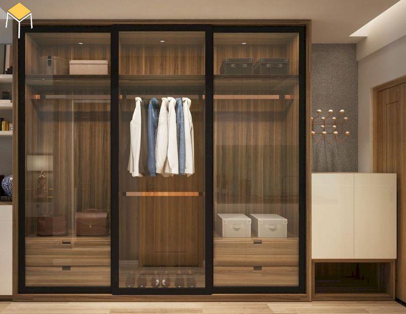 Tủ quần áo 3 cánh gỗ công nghiệp cửa kính giá rẻ