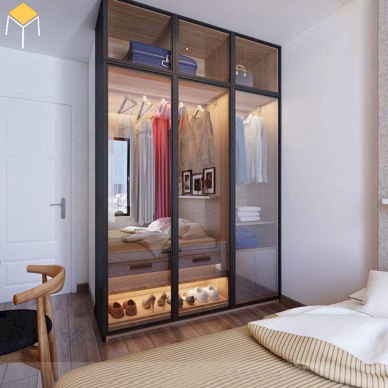 Tủ quần áo 3 cánh gỗ công nghiệp cửa kính