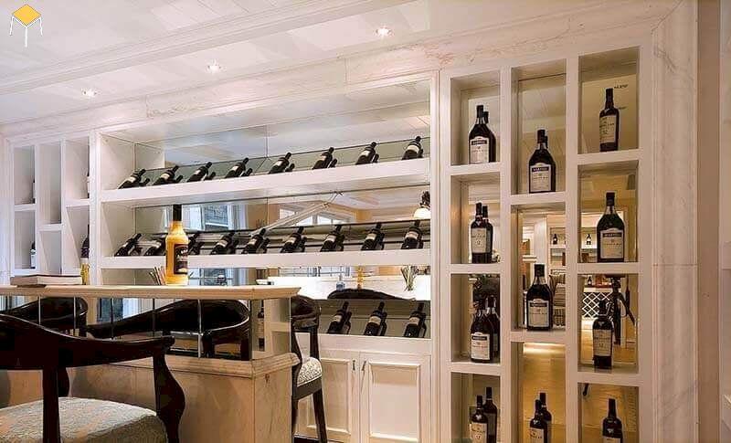 Thiết kế tủ rượu âm tường bằng kính
