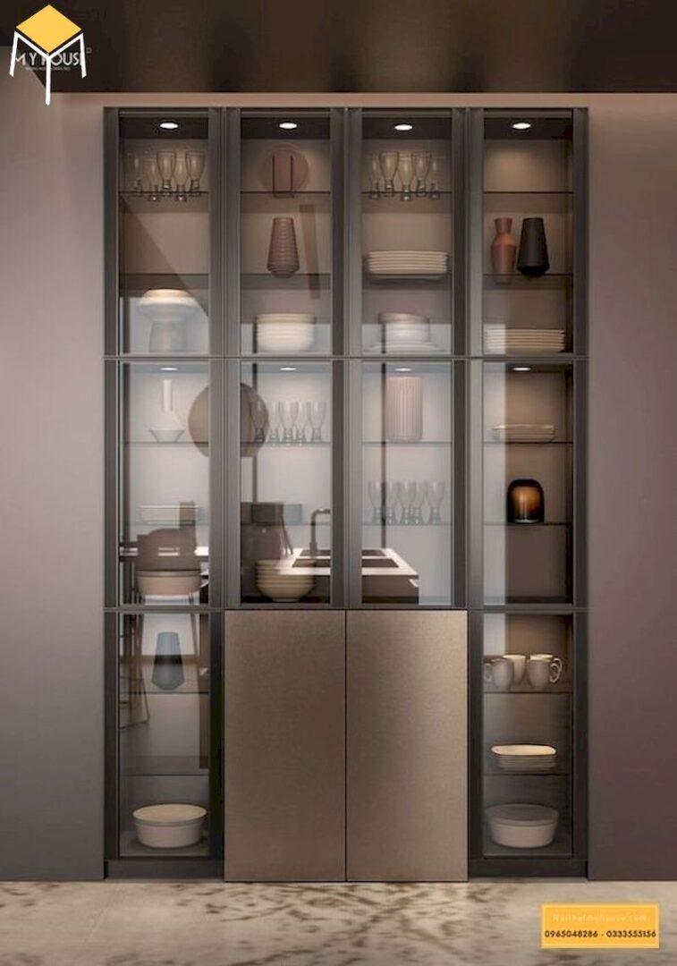Mẫu tủ rượu âm tường bằng kính
