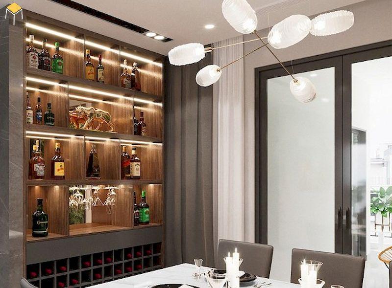 Mẫu tủ rượu âm tường phòng ăn