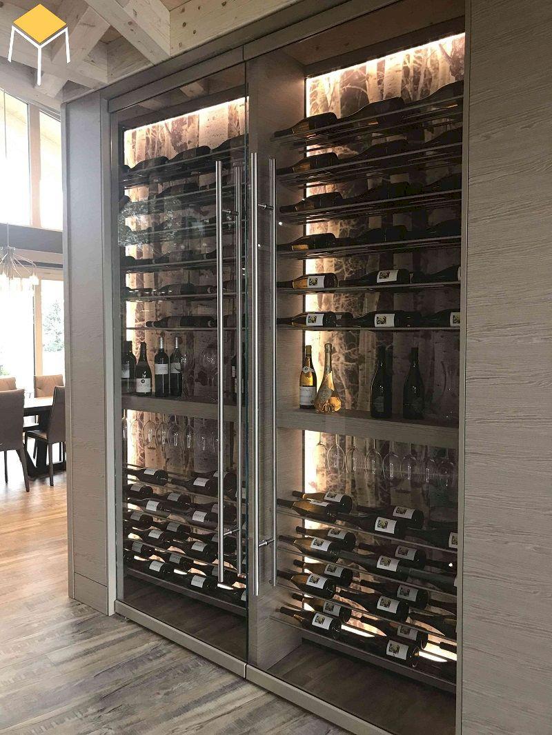 Mẫu tủ rượu âm tường phòng khách