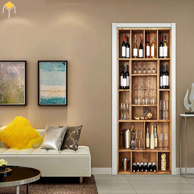 Tủ rượu âm tường phòng khách đẹp, nhỏ gọn