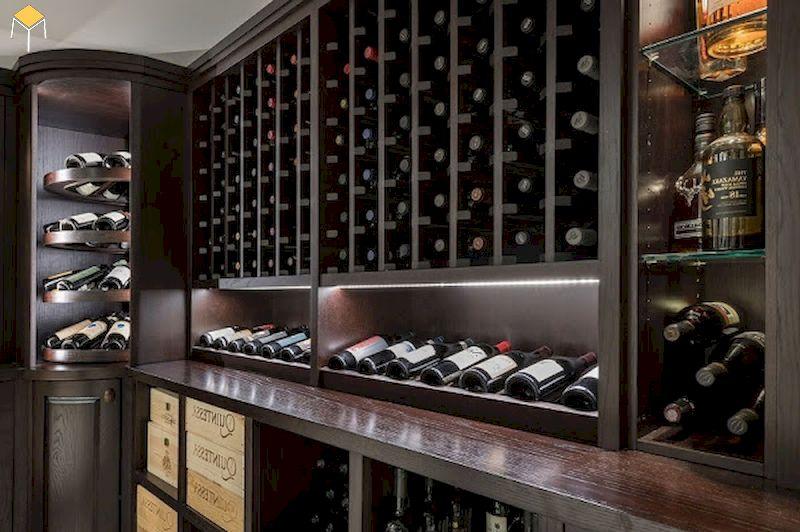 Tủ rượu âm tường phòng khách sang trọng