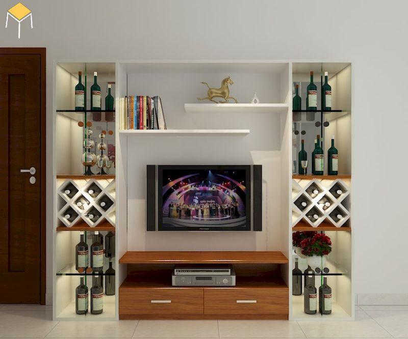 tủ rượu âm tường phòng khách gỗ công nghiệp