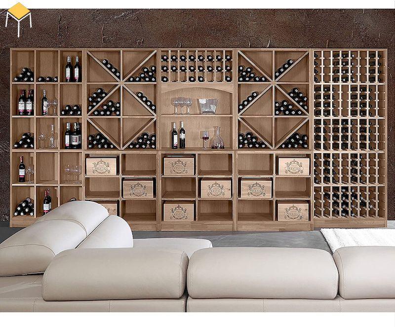 Tủ rượu âm tường gỗ tự nhiên trang trí phòng khách