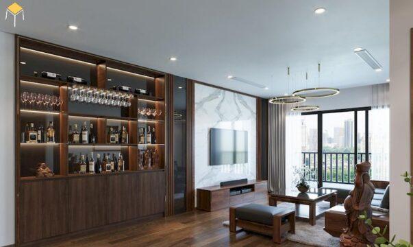 Tủ rượu âm tường phòng khách 1
