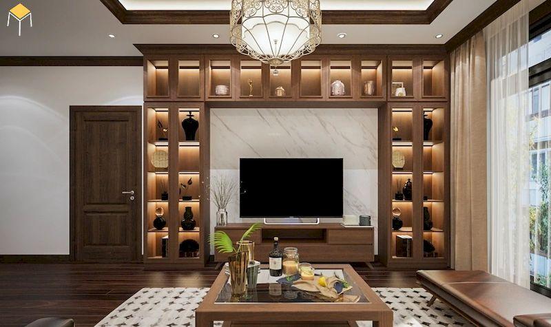 Kích thước tủ rượu âm tường phòng khách