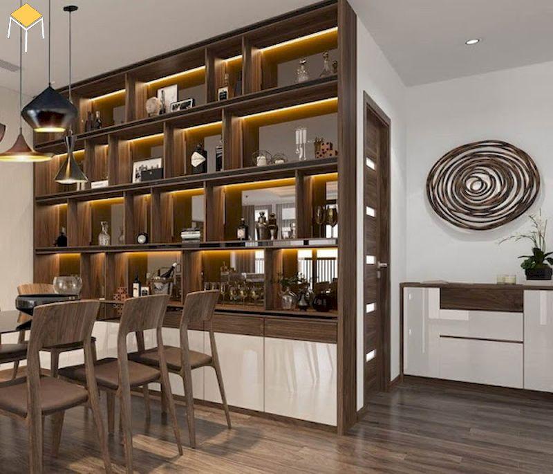 tủ rượu âm tường phòng khách gỗ tự nhiên