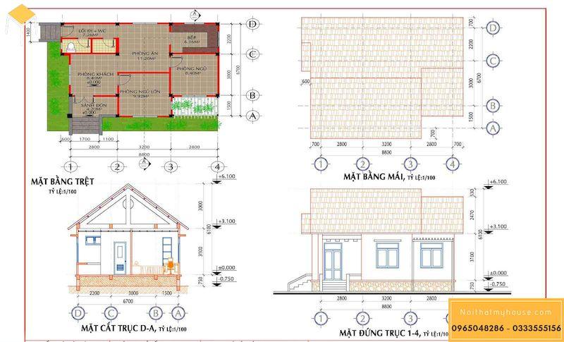 Bản vẽ thiết kế nhà cấp 4 dưới 200 triệu mái thái