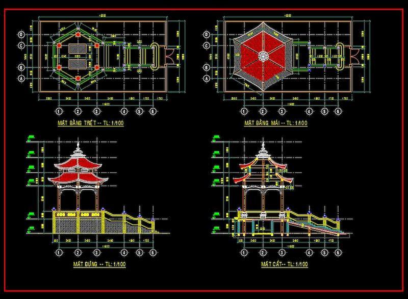 Bản vẽ thiết kế nhà lục giác bằng gỗ đẹp nhất