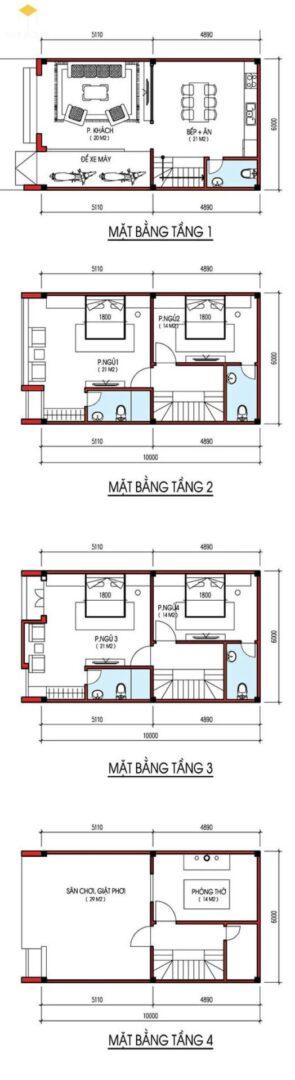 Bản vẽ thiết kế nhà mặt tiền 6m 4 tầng