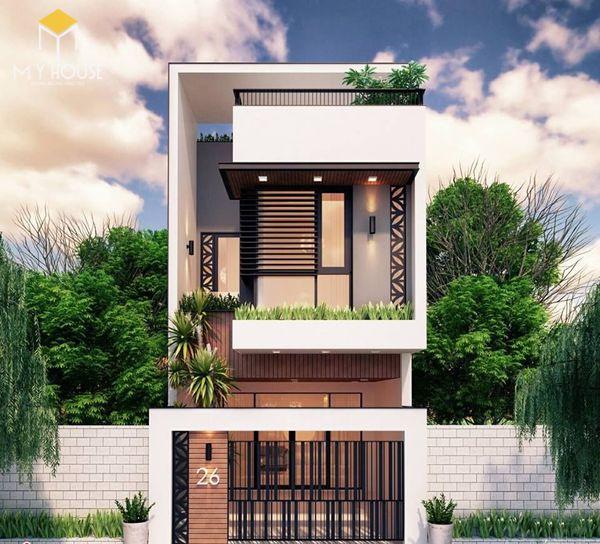 Bản vẽ thiết kế nhà phố mặt tiền 6m 2 tầng