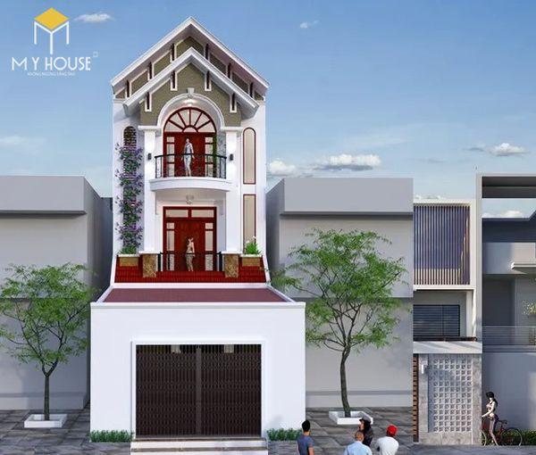 Bản vẽ thiết kế nhà mặt tiền 6m 3 tầng có mái thái