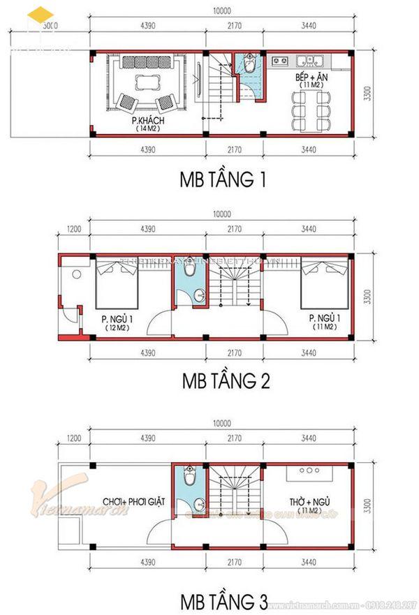 Bản vẽ thiết kế nhà ống 2 tầng 1 tum