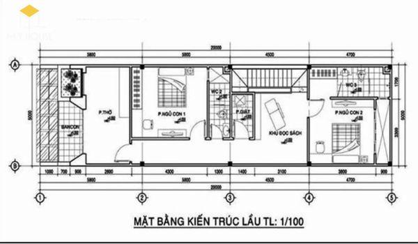 Bản vẽ thiết kế nhà ống 2 tầng 1 tum 3