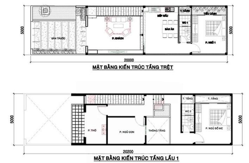 Bản vẽ thiết kế nhà ống 2 tầng 5x20m mái bằng