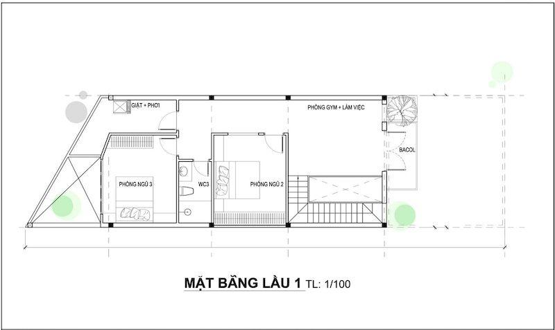 Bản vẽ thiết kế nhà ống 2 tầng 5x20 có gara