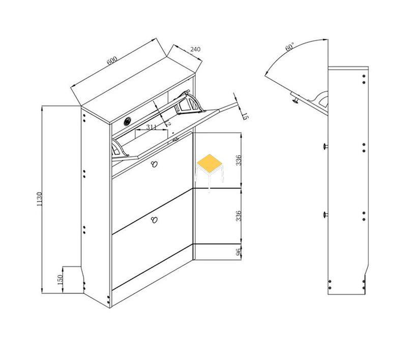Cơ chế vận hành trong bản vẽ tủ giày thông minh