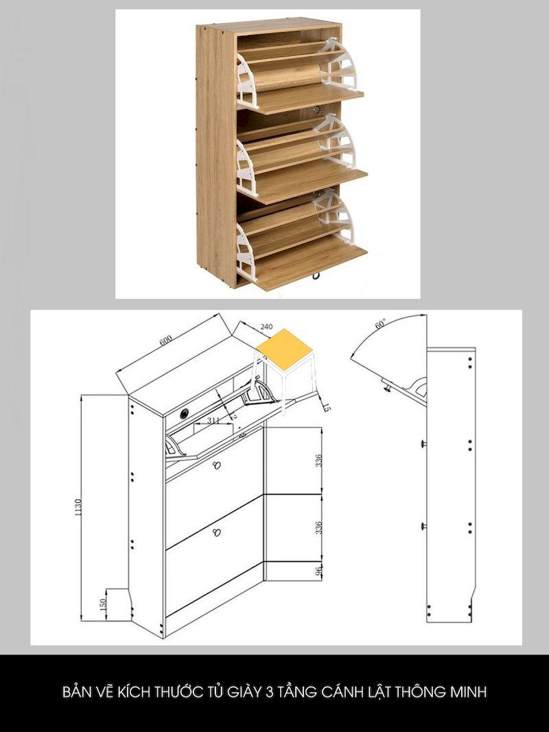 Bản vẽ tủ giày thông minh 3 tầng cánh lật