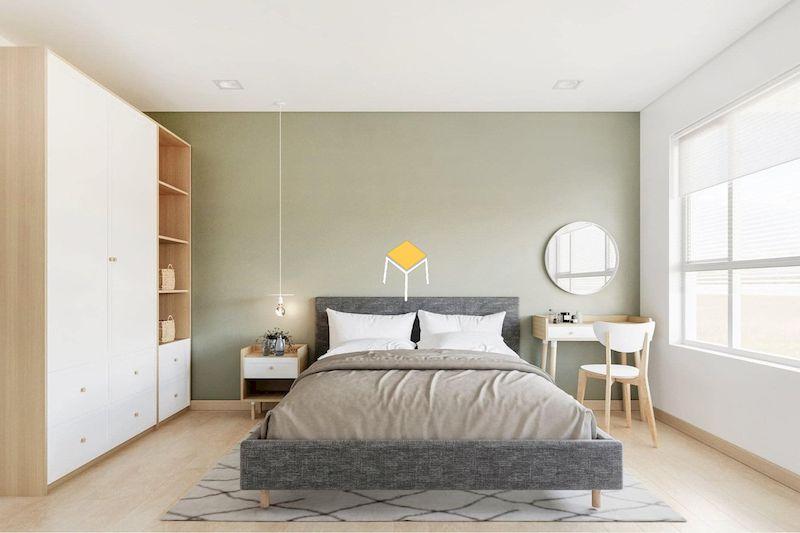 Phòng ngủ kiểu Hàn gỗ công nghiệp