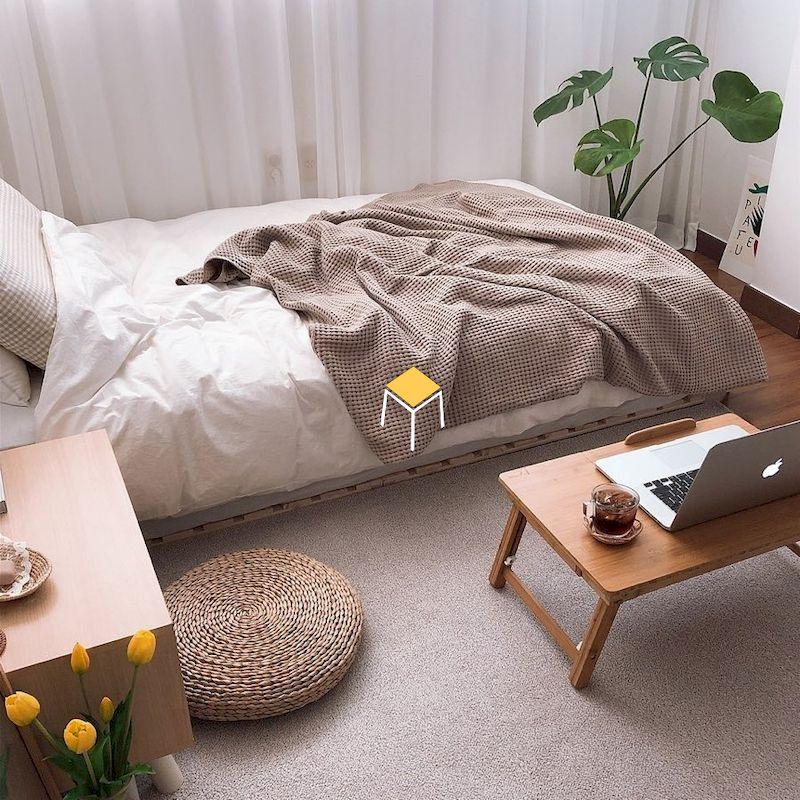 Decor phòng ngủ nhỏ đơn giản có gác xép