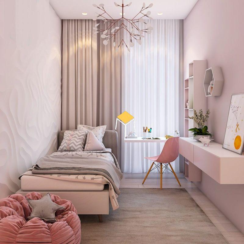 Decor phòng ngủ nhỏ đơn giản màu hồng cho nữ