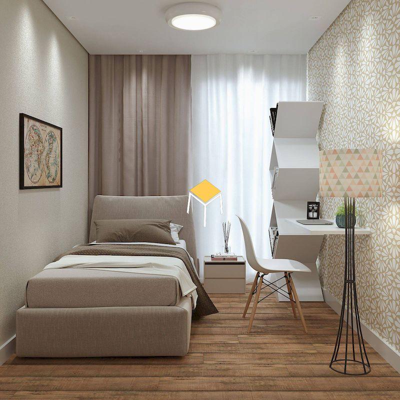 Thiết kế phòng ngủ nhỏ đẹp sử dụng giấy dán tường