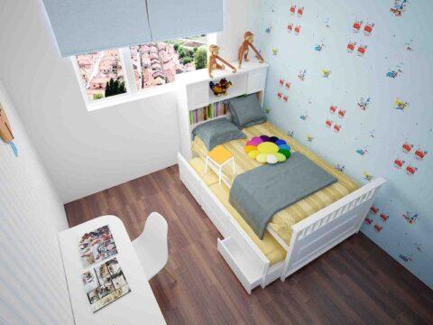 Decor phòng ngủ nhỏ đơn giản với giấy dán tường