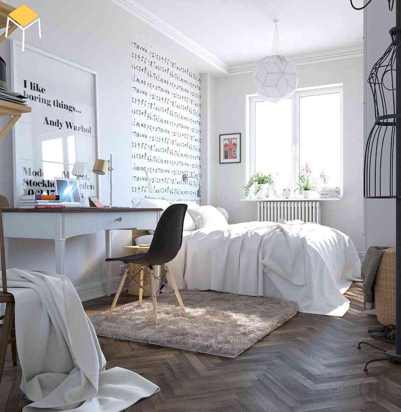 Mẫu decor phòng ngủ vintage đơn giản bằng chữ in tường