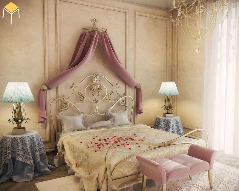 Mẫu decor trang trí phòng ngủ vintage tân cổ điển