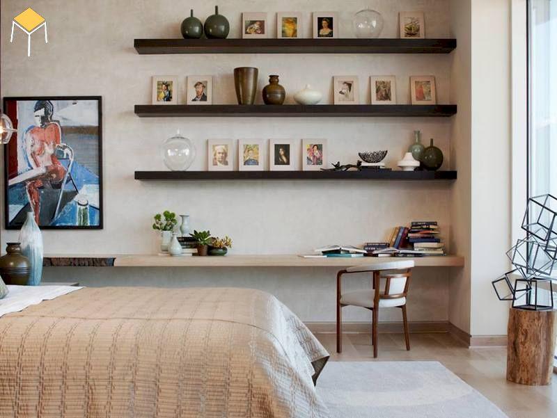 Decor phòng ngủ vintage bằng kệ gỗ trang trí
