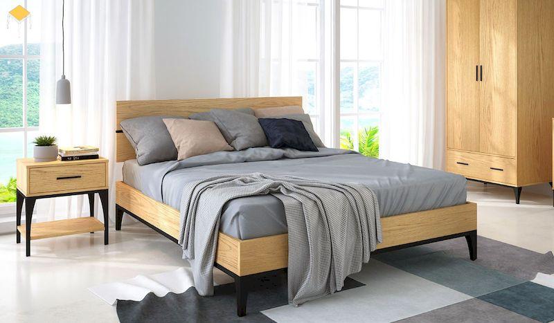 Mẫu phòng ngủ vintage hiện đại gỗ sồi