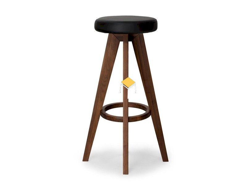 Mẫu ghế quầy bar gỗ óc chó bọc da