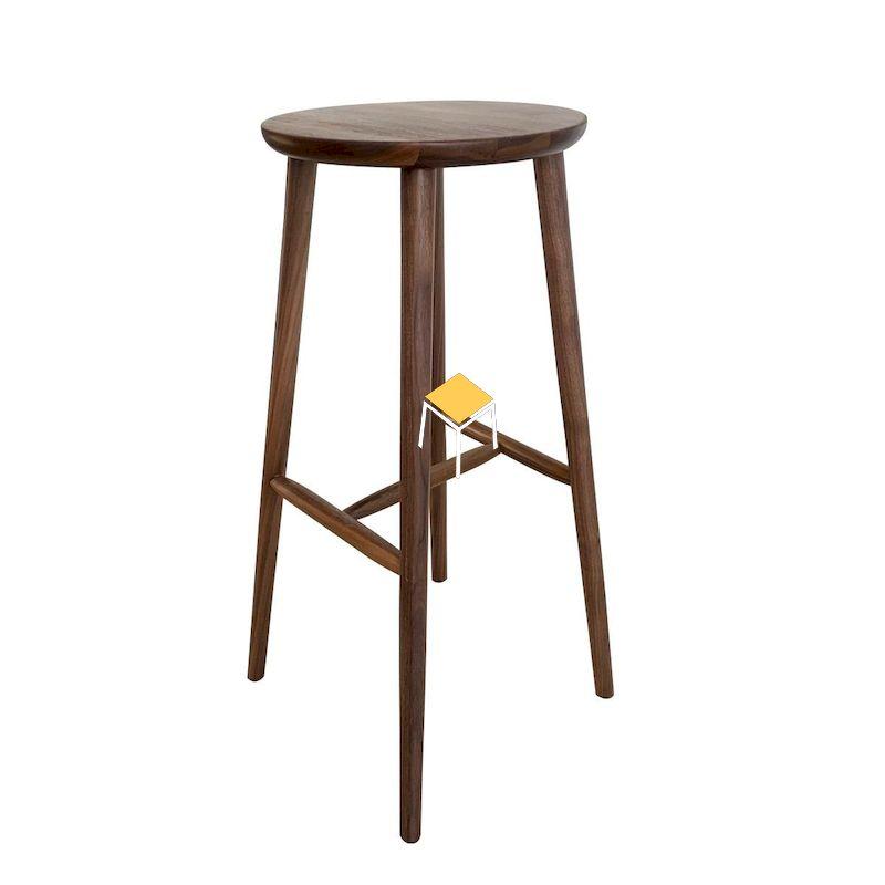 Mẫu ghế quầy bar gỗ óc chó không lưng tựa