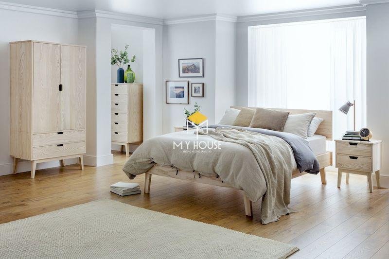 Giường ngủ phong cách châu Âu gỗ tự nhiên sồi