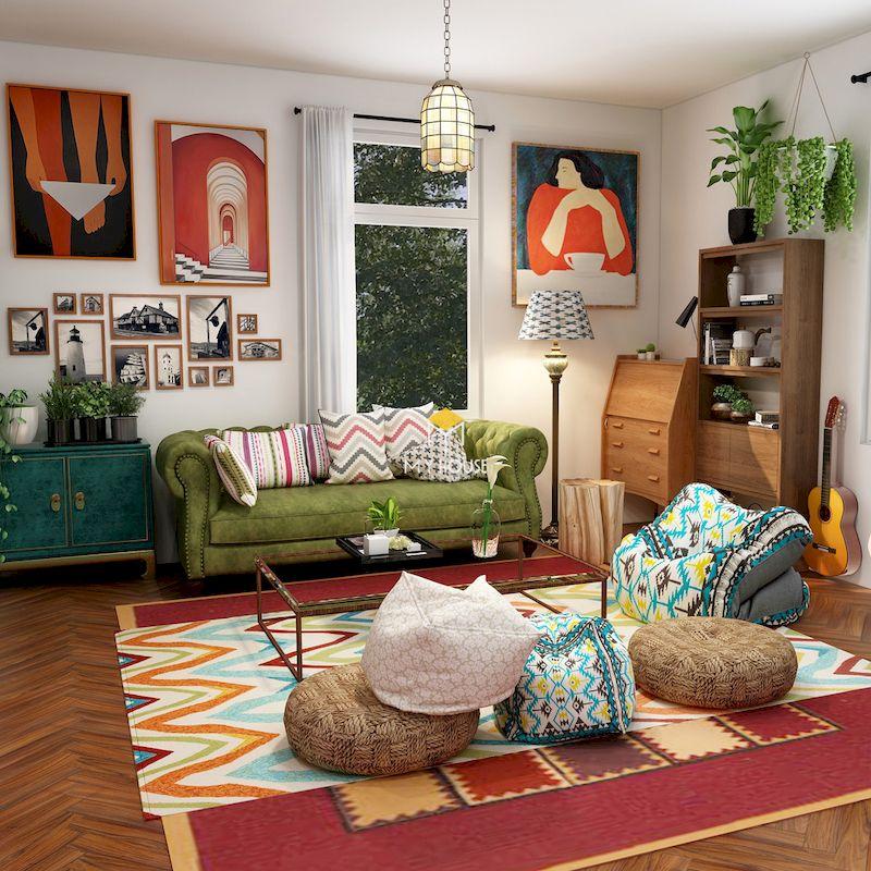 Sự kết hợp màu sắc không theo quy luật của phong cách nội thất bohemian