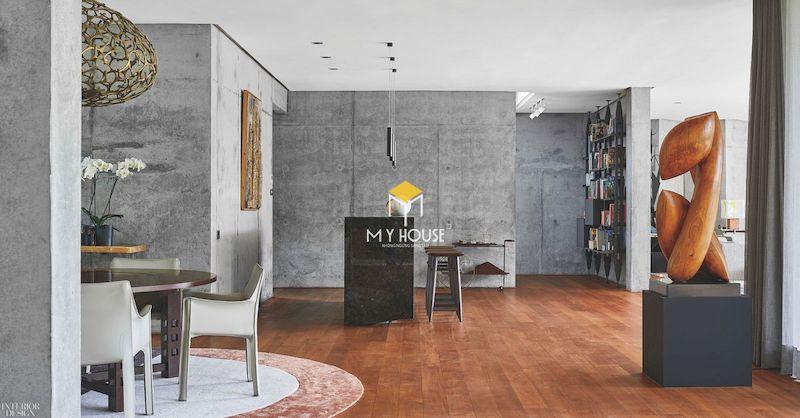 Nội thất phòng khách bếp nhà ở thô mộc gần gũi, đơn giản
