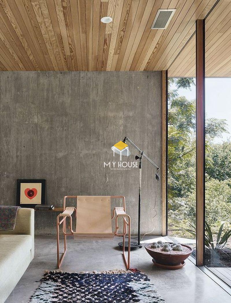 Phong cách nội thất thô mộc sử dụng các chất liệu nguyên bản như bê tông, gỗ, vải, đá