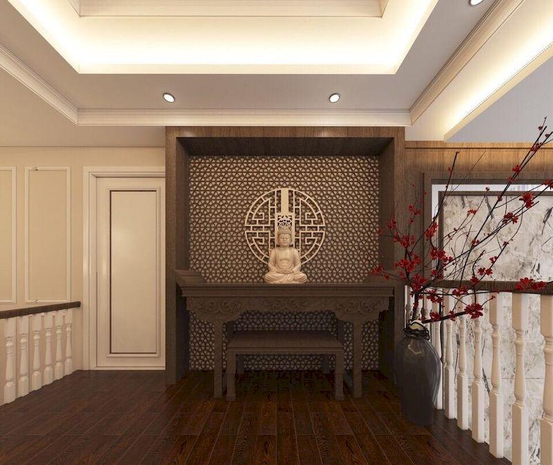 Cách trang trí phòng thờ trong nhà phố tân cổ điển