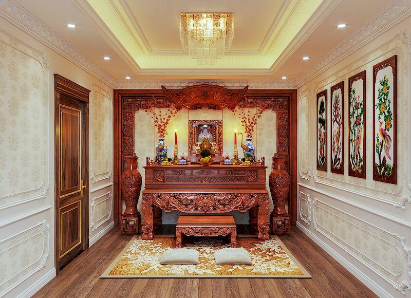 Nội thất phòng thờ biệt thự tân cổ điển