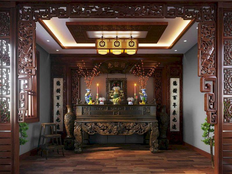 Phòng thờ chất liệu gỗ tự nhiên cao cấp