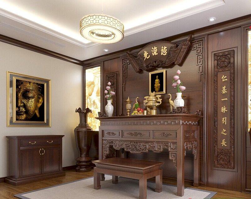 Thiết kế phòng thờ tân cổ điển gỗ tự nhiên theo phong thủy