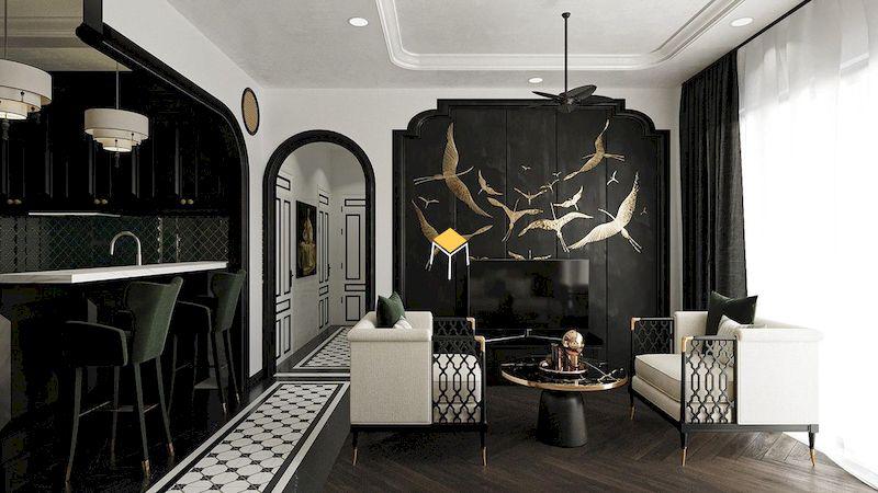 Thiết kế nội thất phòng khách phong cách Indochine màu đen trắng