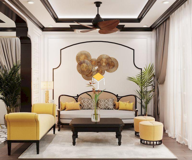 Bộ sofa bọc da phong cách indochine